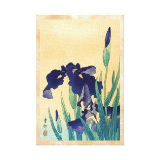 Classic vintage japanese ukiyo-e violet irises art canvas print