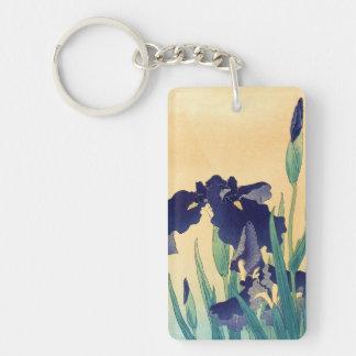 Classic vintage japanese ukiyo-e violet irises art Double-Sided rectangular acrylic keychain
