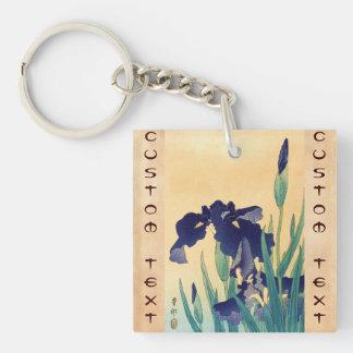 Classic vintage japanese ukiyo-e violet irises art Double-Sided square acrylic keychain