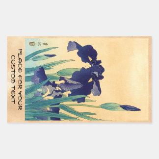 Classic vintage japanese ukiyo-e violet irises art rectangular sticker