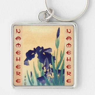 Classic vintage japanese ukiyo-e violet irises art Silver-Colored square keychain