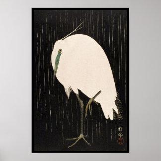 Classic vintage japanese ukiyo-e white crane art poster