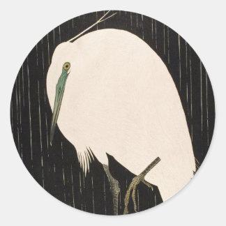 Classic vintage japanese ukiyo-e white crane art sticker