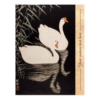 Classic vintage japanese ukiyo-e white swan pond postcard