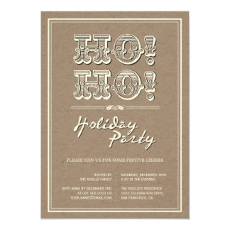 Classic Vintage Kraft HO! HO! Holiday Party Invite