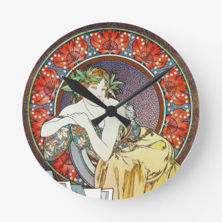 Classic Vintage Mucha Art Round Clock