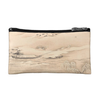 Classic vintage oriental  waterscape scenery boat cosmetics bags