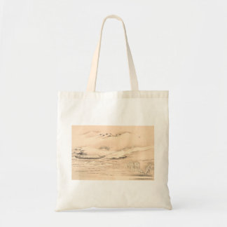 Classic vintage oriental  waterscape scenery boat canvas bags