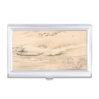 Classic vintage oriental waterscape scenery boat business card cases