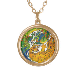 Classic Vintage oriental Yin Yang Dragon Tiger art Round Pendant Necklace