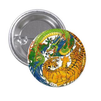 Classic Vintage oriental Yin Yang Dragon Tiger art Pinback Button