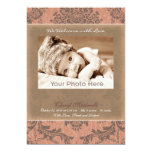 """Classic vintage pink baby announcement 5"""" x 7"""" invitation card"""