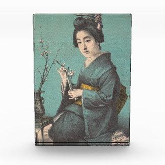 Classic vintage portrait of geisha japanese lady acrylic award