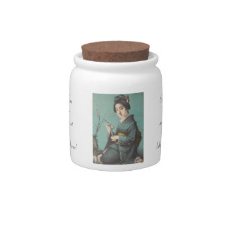 Classic vintage portrait of geisha japanese lady candy jar