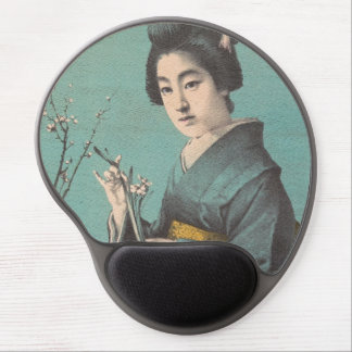 Classic vintage portrait of geisha japanese lady gel mouse pad