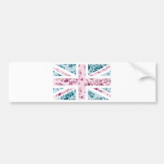 Classic Vintage Rose Union Jack British(UK) Flag Bumper Sticker