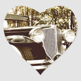 Classic Vintage Sepia Car Heart Sticker