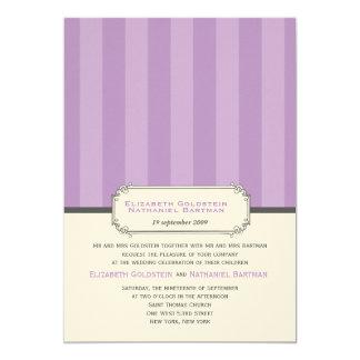 Classic Vintage Stripes Wedding Invitation in Purp