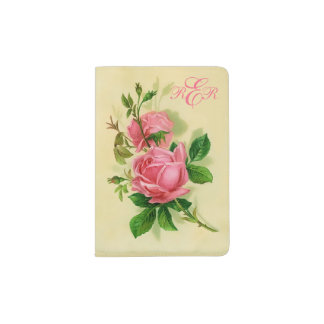 Classic Vintage Style Pink Roses Passport Holder