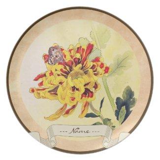 Classic vintage ukiyo-e chrysanthemum butterfly plates