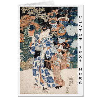 Classic vintage ukiyo-e geisha and child Utagawa Card