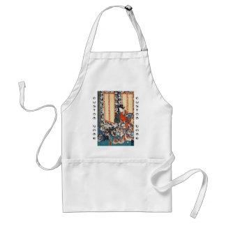 Classic vintage ukiyo-e geisha and children art adult apron
