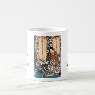Classic vintage ukiyo-e geisha and children art coffee mug