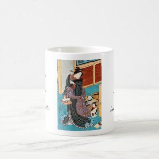 Classic vintage ukiyo-e geisha and nekko Utagawa Coffee Mug