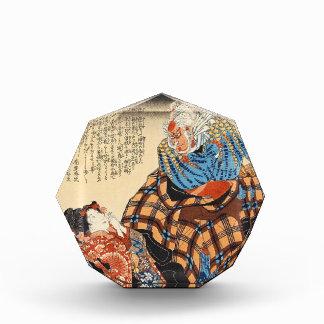 Classic vintage ukiyo-e geisha and samurai scroll acrylic award