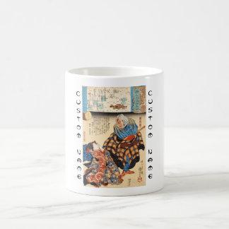 Classic vintage ukiyo-e geisha and samurai scroll coffee mug