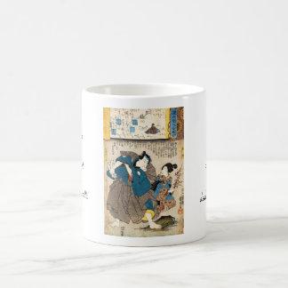 Classic vintage ukiyo-e geisha and samurai Utagawa Coffee Mug