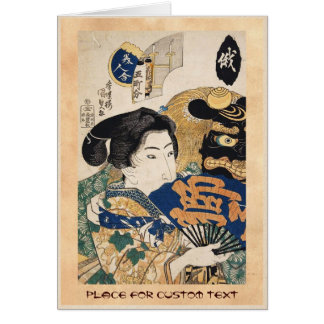 Classic vintage ukiyo-e geisha with fan Utagawa Card