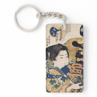 Classic vintage ukiyo-e geisha with fan Utagawa Acrylic Keychain