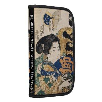 Classic vintage ukiyo-e geisha with fan Utagawa Folio Planners