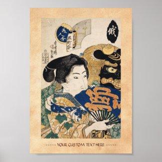 Classic vintage ukiyo-e geisha with fan Utagawa Poster