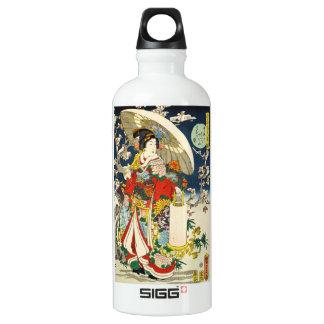 Classic vintage ukiyo-e geisha with umbrella aluminum water bottle