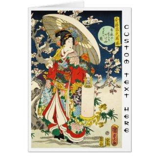 Classic vintage ukiyo-e geisha with umbrella greeting card