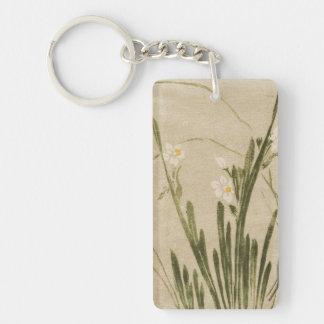 Classic vintage ukiyo-e japanese flowers art Double-Sided rectangular acrylic keychain