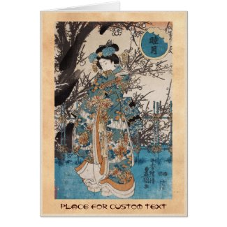 Classic vintage ukiyo-e japanese geisha portrait card