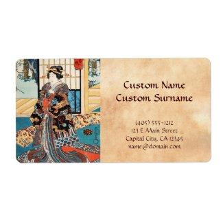 Classic vintage ukiyo-e japanese geisha Utagawa Custom Shipping Labels