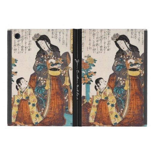 Classic vintage ukiyo-e japanese lady and child iPad mini cover