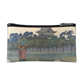 Classic vintage ukiyo-e japanese rainy scenery art makeup bag