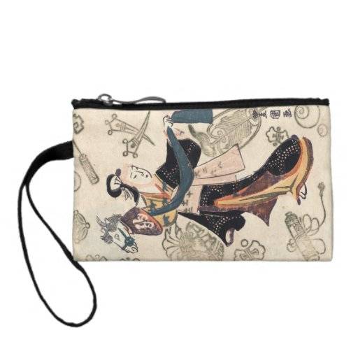 Classic vintage ukiyo-e japanese woman and puppet coin purses