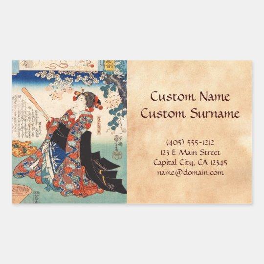 Classic vintage ukiyo-e old scroll geisha Utagawa Rectangular Sticker
