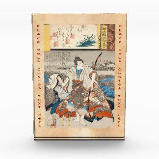 Classic vintage ukiyo-e samurai and lady Utagawa Award