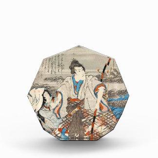Classic vintage ukiyo-e samurai and lady Utagawa Acrylic Award
