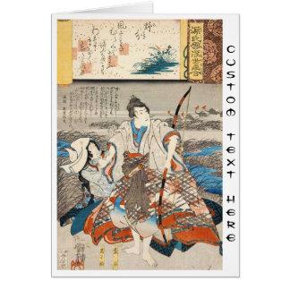 Classic vintage ukiyo-e samurai and lady Utagawa Card