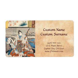 Classic vintage ukiyo-e samurai and lady Utagawa Label