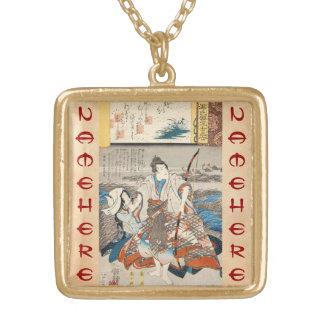 Classic vintage ukiyo-e samurai and lady Utagawa Necklaces