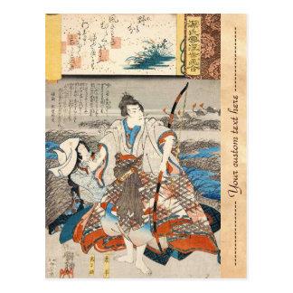 Classic vintage ukiyo-e samurai and lady Utagawa Postcard